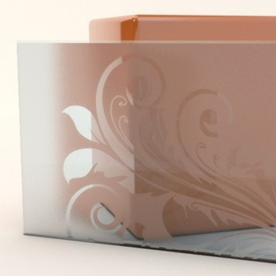 Material backsplash kaca sandblast